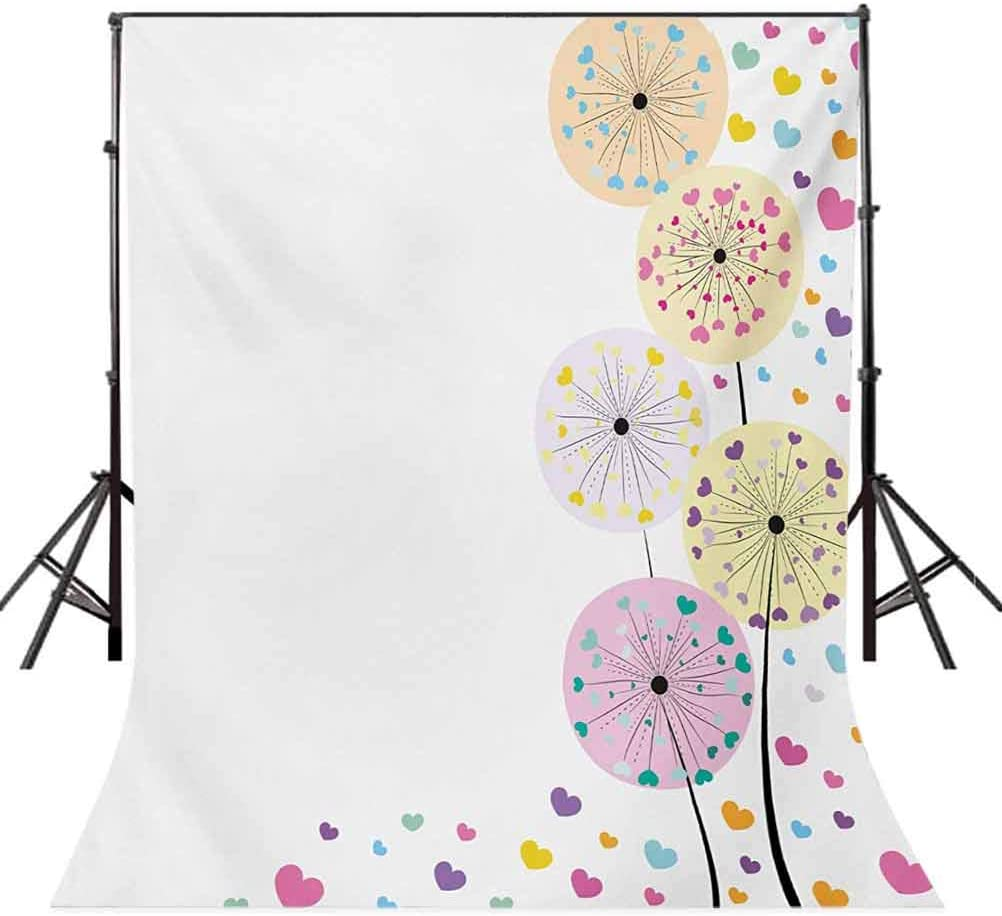 Abstract Dandelion Flowers with Cute Hearts Inside Floral Cartoon Romantic Artwork Background for Baby Shower Bridal Wedding Studio Photography Pictures Colorful 10x12 FT Photography Backdrop