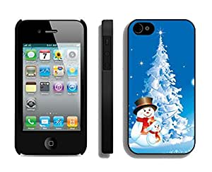 Iphone 4S Case,Snowmans With Snow Christmas Tree Silicone Black Case For Apple Iphone 4/Iphone 4s Cover Case