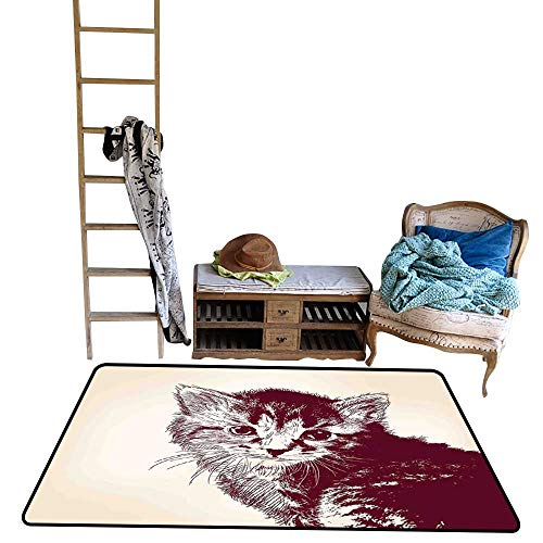 Arrow, Kids Carpet Playmat Rug, Grunge Style Illustration of a Baby Little Innocent Kitty on Vintage Background (W56 x L64 Inch, Maroon Cream)