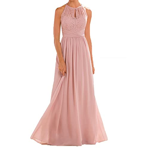 Firose High Neckline Halter Lace A-line Chiffon Floor-Length Bridesmaid Dress