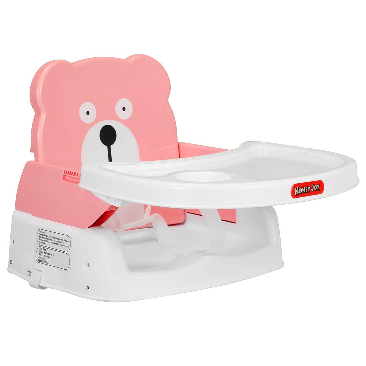 HONEYJOY Baby Booster Seat, 2 in 1 Portable Booster Feeding Seat W/Safety Belt, Removable Tray, Cup Holder for Toddlers (Pink) by Honeyjoy