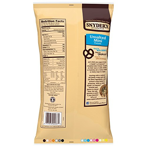 Snyder's of Hanover Mini Pretzels, Unsalted, 9.25 Ounce Bags (Pack of 12) by Snyder's of Hanover (Image #2)