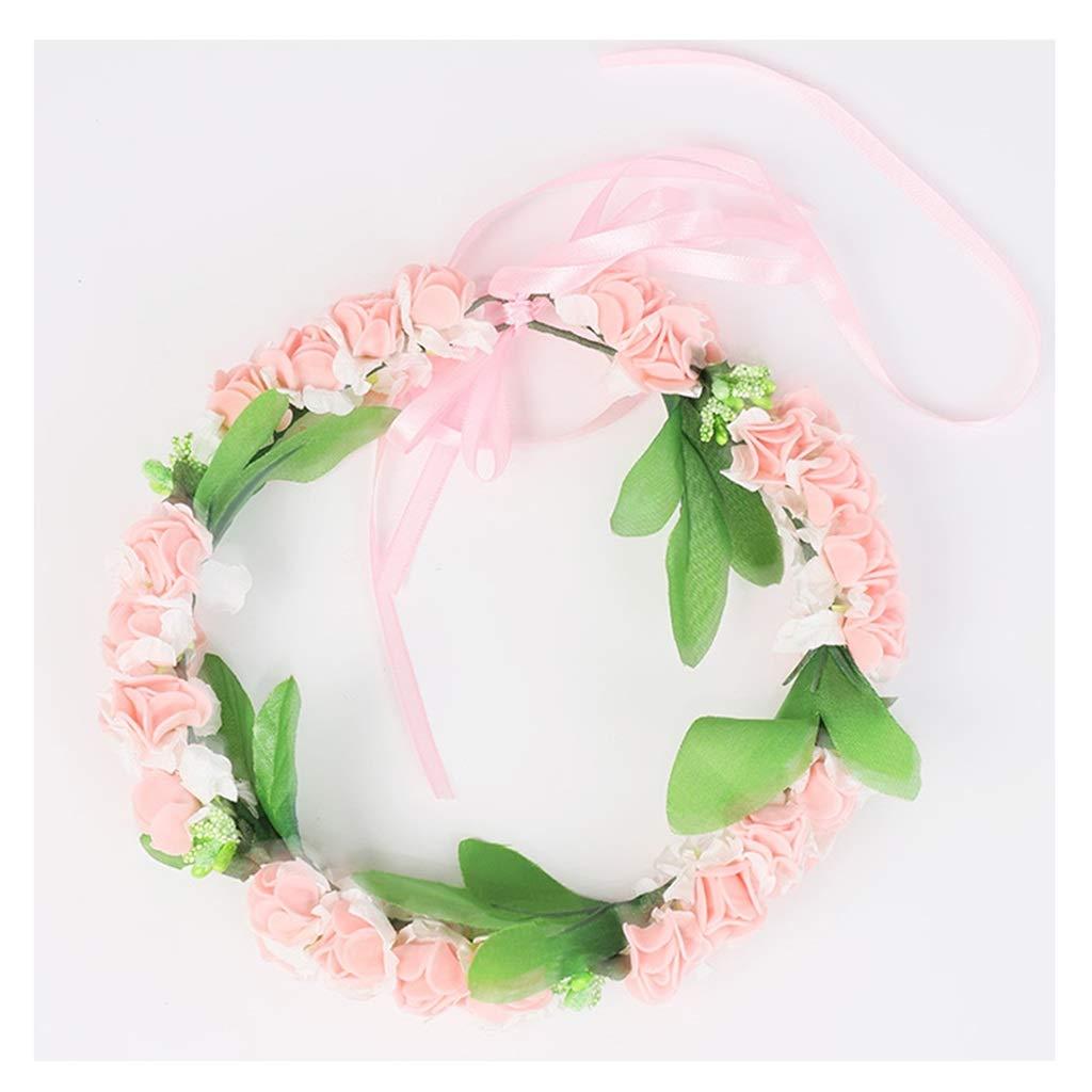 Wreath Children's Flower Head Flower Headdress Flower Girl Bride Dress Costume Accessories Birthday Pink