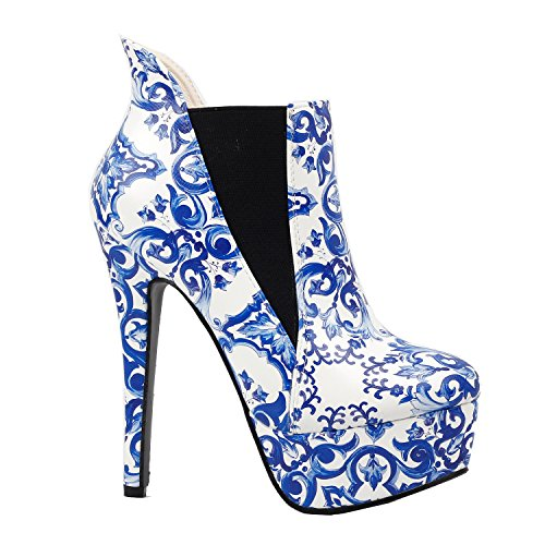 (SHOW STORY Elegant Blue and White China Platform High Heel Stiletto Ankle Boots,LF80843BU40,9US,Blue)