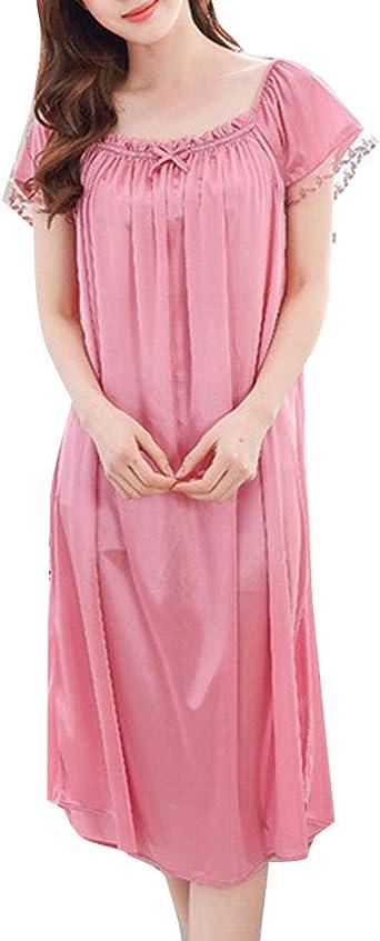 Camisón Talla Grande Mujer Verano Pijama Manga Corta Vestido Ropa De Dormir