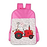 Fuatter Cow Driving Red Tractor Children Carrying Backpacks