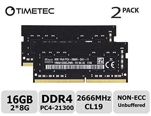 (Timetec Hynix 16GB Kit (2x8GB) DDR4 2666MHz PC4-21300 Unbuffered Non-ECC 1.2V CL19 1Rx8 Single Rank 260 Pin SODIMM Laptop Notebook Computer Memory RAM Module Upgrade (16GB Kit (2x8GB)))