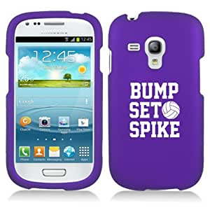 Samsung Galaxy S III S3 MINI i8190 Snap On 2 Piece Rubber Hard Case Cover Bump Set Spike Volleyball (Purple)