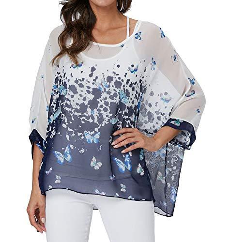 Qunsia Women Chiffon Blouse Floral Batwing Sleeve Beach Cover Up Loose Tunic Shirt Tops (4348)