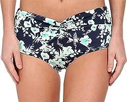Christin Michaels Women's Asteria Hipster Dark Denim Floral Swimsuit Bottoms 2XL