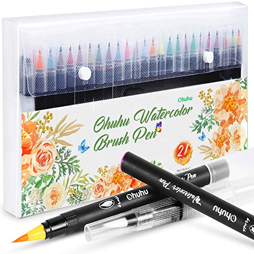 Watercolor Brush Markers Pen, Ohuhu 20 Colors Water Based Drawing Marker Brushes W/A Water Coloring Brush, Water Colored Ink W/Soft Flexible Tip for Adult Coloring Books, Manga, Comic, Calligraphy]()