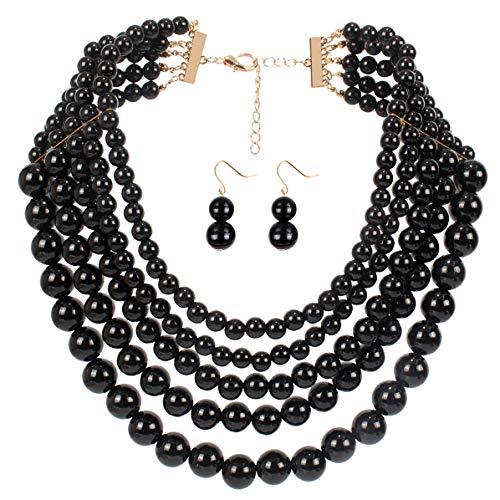 Lanue Women Elegant Jewelry Set Multi Strand 5 Layer Pearl Bead Cluster Collar Bib Choker Necklace and Earrings Suit (Black) ()
