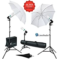 LimoStudio 600W 5500K Photo Video Studio Continuous Lighting Bundle Kit UL1573 ETL Listed Photo Bulb Socket