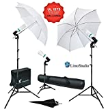 LimoStudio 600W 5500K Photo Video Studio Continuous Lighting Bundle Kit UL1573 ETL Listed Photo Bulb Socket, White/Black Umbrella Reflector, Stand Carry Bag, Light Stand Tripod, AGG340V2