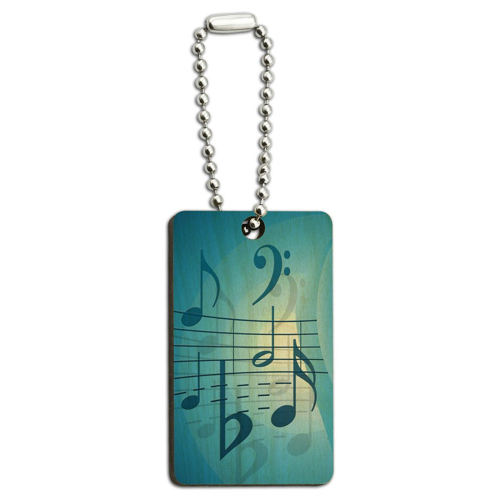 Blue Musical Notes - Musician Wood Wooden Rectangle Key Chain