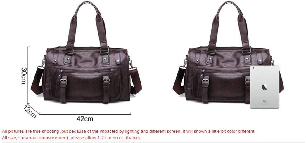 Men PU Leather Business Handbag For Male Fashion Round Bucket Travel Handle Bag Brown