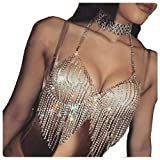 Hunputa Sexy Women Nightclub Bling Rhinestones Party Body Chain Jewelry Bikini Waist Gold Belly Beach Harness Slave Necklace Bra Cami Tops Vest Tank (Gold)