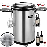 VBENLEM 1.7 cu. ft. 110V Indoor Outdoor Party Cooler Fridge 60 Cans Single Zone Stainless Steel Refrigerated Beverage Cooler With Wheels Suit for Ball Games Bars Party Travel