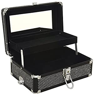 Sunrise C3010 Professional Makeup Cosmetic Train Case Jewelry Organizer, Krystal Black