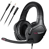 GLOLINK Black Stingers Gaming Headset for PC Xbox One PS4 Wii U Game Headphone With Microphone(No Microphone mute)