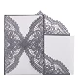 HONGJORA 24pcs Lace Hollow Wedding Invitation,Laser Cut Silver-grey for Party Event Supplies Favor (Hollow Cards)