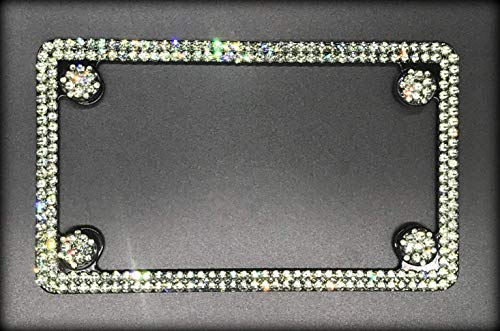 Bling Black Motorcycle License Plate Frame made with Black Diamond Swarovski Crystals - Motorcycle Jewelry -  RVMdesigns