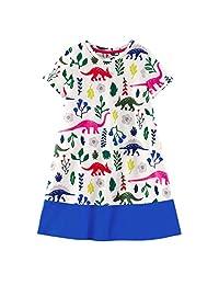Vincent&July Toddler Girls Dinosaur Flower Short Sleeve Stitching Summer Dress