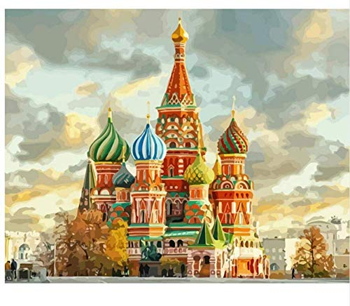 Diartop 5D Diamond Painting Kit by Number Moscow Russia Landscape Full Drill Diamond Painting Kit Home Wall Decor ()