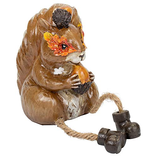 Squirrel in Autumn Leaf Mask with Acorns 6 x 2 Inch Resin Harvest Dangle Leg Shelf Sitter