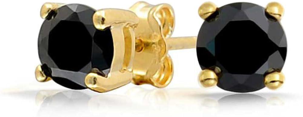 2Ct Redondo Negro Pendiente Boton Zirconia Cúbico Solitario AAA CZ Para Hombres Y Mujer Chapado En Oro De 14K 925 8Mm