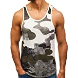 Seaintheson Men's Tank Tops, Men's Sleeveless T-Shirt Patchwork Camouflage Bodybuilding Sport Workout Fitness Vest Tops