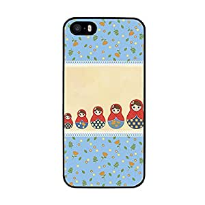 Funda carcasa TPU (Gel) para Apple iPhone 5 5S diseño estampado matrioska azul y beige borde negro