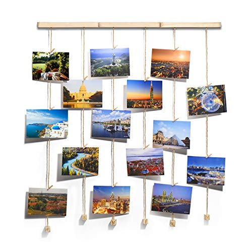 TWING Hanging Photo Display Picture Frames Collage with 30 Clips 26×29 inch - Collage Artworks Prints Multi Pictures Organizer & Hanging Display Frame for Wall Decor Hanging Photos