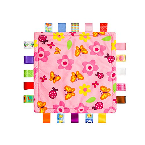Flower Security Blanket - Baby Blanket with Colorful Ribbons Around, Taggy Blanket for Baby, Infant Security Blanket, Baby Shower Towel, Toddlers Security Blanket,Flowers and Butterflies Blanket