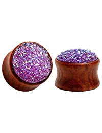 KUBOOZ(1 Pair) Red-stone Surface Wooden Ear Plugs Tunnels Gauges Stretcher Piercings