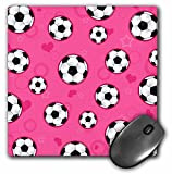 3dRose LLC 8 x 8 x 0.25 Inches Mouse Pad, Cute Pink Soccer Star Print (mp_110757_1)