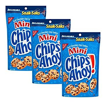 Chips Ahoy! Mini Chcolate Chip Cookies, 8-Ounce Snak-Saks (Pack of 3)