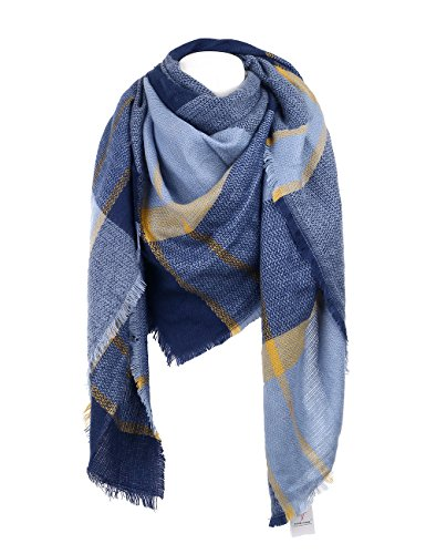 Cozy Checked Plaid Blanket Scarf - Soul Young Tartan Stylish Cape Wrap Shawl for Women and Men(One Size,Navy)