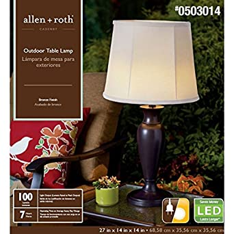 allen roth cadenby 27 in resin solar led outdoor table lamp