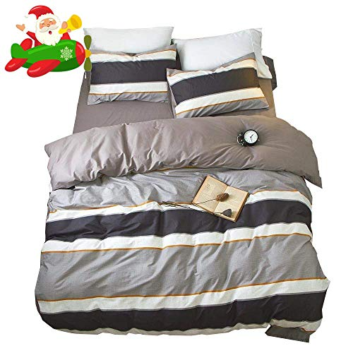 AMWAN Reversible Striped Cotton Duvet Cover Set Queen Modern Soft 3 Piece Bedding Set Full Hotel Quality Men Boys Duvet Comforter Cover Set for Teens Kids Luxury Full Queen Bedding Collection Black Friday & Cyber Monday 2018