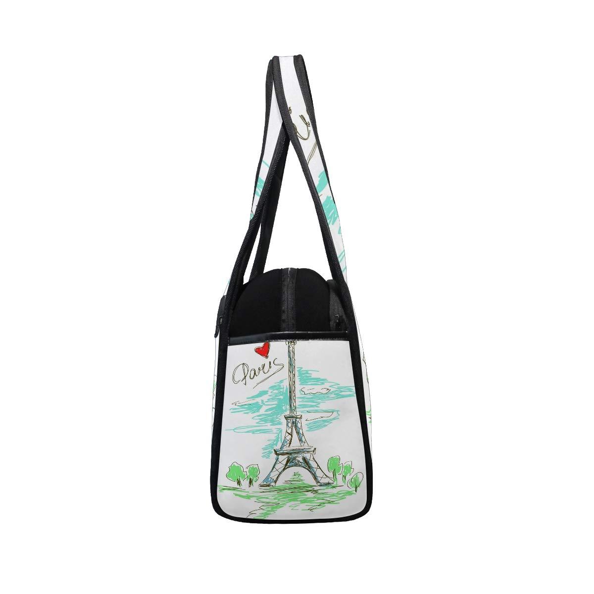 Gym Bag Sports Holdall Eifel Tower Love Heart Canvas Shoulder Bag Overnight Travel Bag for Men and Women