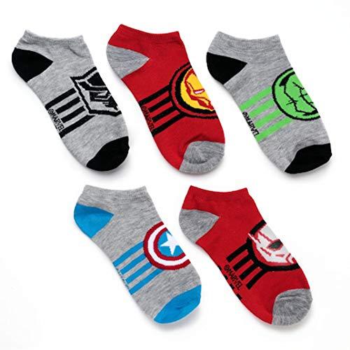 Avengers Boys 6 pack Socks (Team Grey, S/M 6-8.5) ()