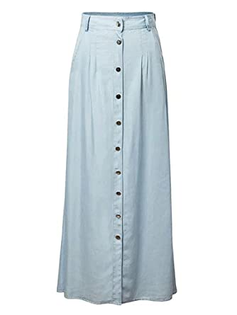 c75a40db8 Joeoy Women's High Waist Button up A-Line Denim Maxi Long Skirt at Amazon Women's  Clothing store: