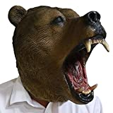 Realistic Grizzly Bear Head Mask Animal Latex Masks Full Head Halloween Costumes Party Animal Cosplay
