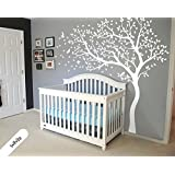 White Tree Wall Decal Huge Tree wall decal Wall Mural Stickers Nursery Tree and Birds Wall Art Tattoo Nature Wall Decals Décor
