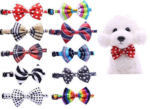 Yagopet 10pcs/pack New Pet Dog Bowties Dog Collar neckties Dog Ties Adjustable Pet Grooming Products Dog Accessories Cute (Pet Costumes For Small Dogs)