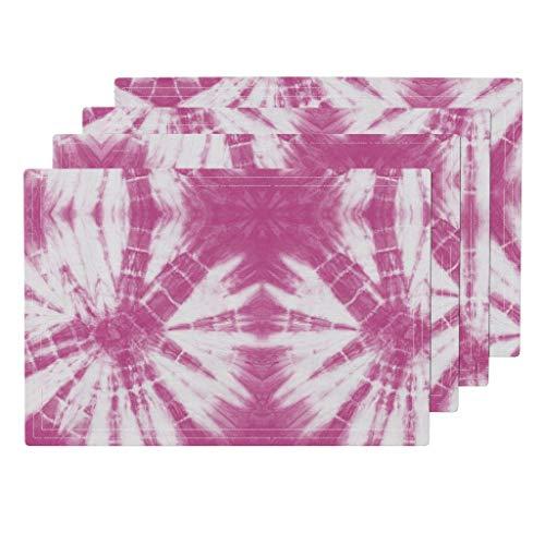 Roostery Tie Dye 4pc Organic Cotton Sateen Cloth Placemat Set - Pink Hippie Love Shibori Tye Dye Littlearrow by Littlearrowdesign (Set of 4) 13 x 19in
