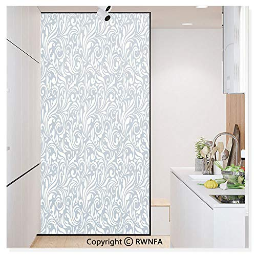 (RWN Film Removable Static Decorative Privacy Window Films Abstract Flourishing Nature Vintage Monochrome Floral Arrangement Leaves Swirl for Glass (17.7In. by 78.7In),Bluegrey Cream)