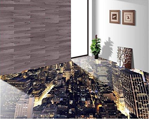 300cmX250cm 3d Flooring Wallpaper 3D City Lights Living Room 3d floor bathroom PVC Self-adhesive Waterproof Mural Wallpaper by ZLJTYN