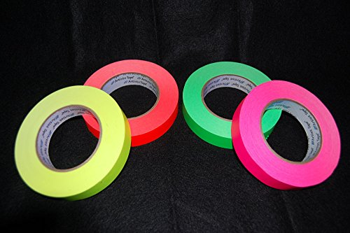 4 Pack 1 Inch UV Blacklight Reactive Fluorescent Artist Tape 4x 60 Yards